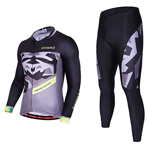 Asvert Malliot de Ciclismo Hombre 3D Cojín Conjunto Bicicleta de Montaña Ropa+Pantalones Culote de Ciclista Largo Transpirable y Elástico para Primavera y Verano (M, Fantasía)