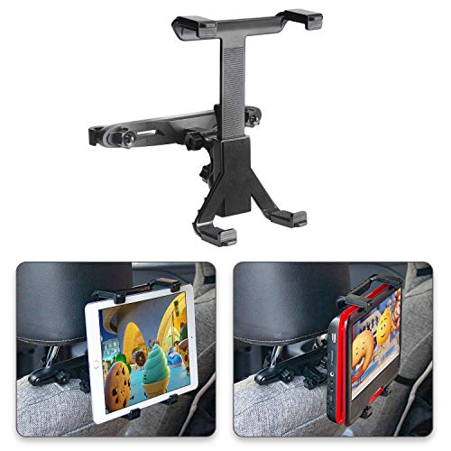 POMILE Auto Kopfstützenhalterung für DVD Player, Verstellbare Autositz Kopfstütze Halterung für tragbare DVD-Player, Apple iPad Air / Mini, Samsung Galaxy Tab, Kindle Fire, 7' ~ 12' Tablets (1 Stück)