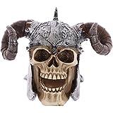 Puckator SK236 Crâne de décoration portant Casque avec cornes de viking Résine Beige/Gris/Noir 16 x 12 x 11,5 cm