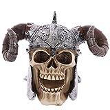 PUCKATOR SK236 Cráneo portátil de decoración con Casco y Cuernos de Vikingo, de Resina, Colores Beis/Gris/Negro, 16 x 12 x 11,5 cm