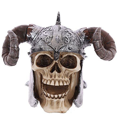 Puckator SK236 Skull Decoration with Resin Viking Helmet with Horns 16 x 12 x 11,5 cm Beige/Grey/Black