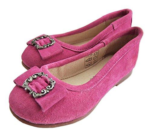 Isar Trachten Kinder Ballerinas mit Zierschnalle - Pink - Süße Dirndl Schuhe für Mädchen Pink