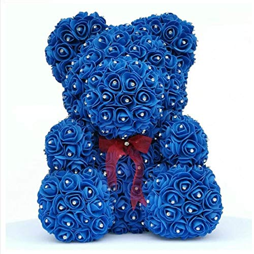 WULIHONG-Flor artificialDiamond Rose Bear with Heart Artificial Roses Foam Roses Flower Diamonds Bear Rose Regalos para el Día de San Valentín Día de la Madre Día de la Madre 35 cm Oso Azul Real