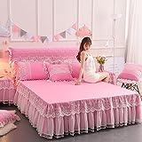 SL&CL Farbe Bett Spitzenrock,Prinzessin Version Solide koreansingle stück Anti-Rutsch-Bett Decke Bett Abdeckung lotosblatt 1.8m Bett-E 200x220cm(79x87inch)