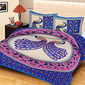 100% Cotton Bedsheets for Double Bed with 2 Pillow Covers, Home Ecstasy 144 TC Printed Blue Bedsheet (Queen, Blue Floral)