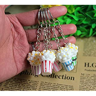 Airgoesin 20pcs Keychain Key Ring Hang Simulation food Popcorn Cute Shop Promo Gift Charms