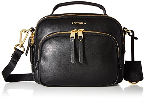Tumi Voyageur Troy Leather Crossbody Bolso bandolera, 21 cm, Negro (Black)