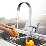 Auralum® Monomando Cascada Grifo de Cocina 360° Giratorio Agua Fría Y Caliente Elegante Grifos para fregadero 3 Años Garantía