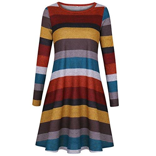 Damen Strickkleid Langarm Casual Gestreift T-Shirt Kleid Bluse Tops Strick Hemd Schwangere Frauen mit Taschen Gelb