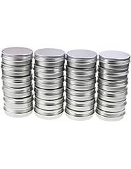 LJY 24 Pièces Rondes En Aluminium Canettes À Vis Couvercle En Métal Boîtes Jars Contenants à Glissière Glissière...