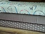 Lottashaus Jersey no104 Stoffpaket 3 Stück 50x70cm Grau Mint Hase Dachs Gans Fuchs Baumwolljersey Kinder Kleidung Stoffe