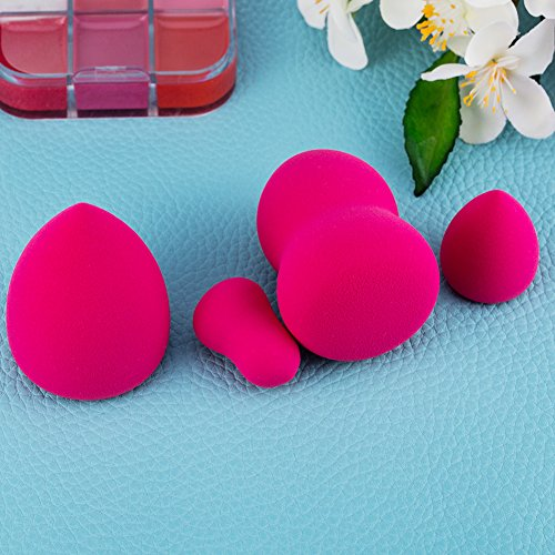 amoore Make up Schwamm 4pcs Latex-freien Make up Schwämmchen Blender Foundation Schwämme Make-up Puderquaste Rose rot