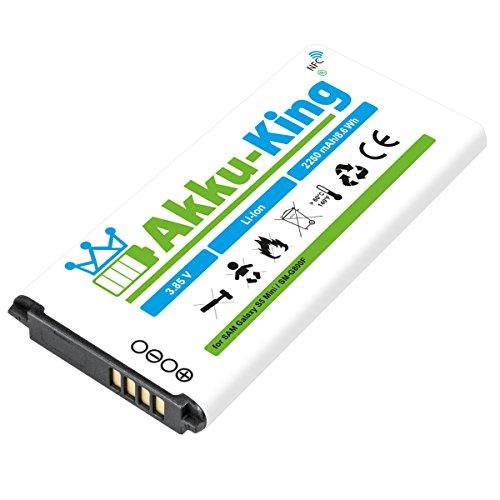 Akku-King Akku für Samsung Galaxy S5 Mini, S5 mini DuoS, SM-G800F, SM-G800H, SM-G800Y - ersetzt EG-BG8000BBE - Li-Ion 2250mAh mit NFC