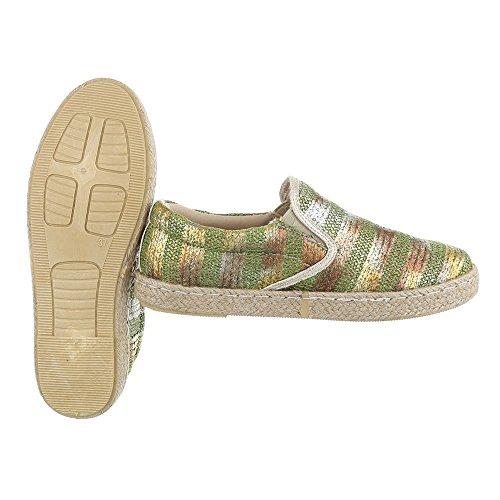 Slipper Damenschuhe Low-Top Moderne Ital-Design Halbschuhe Grün Gold