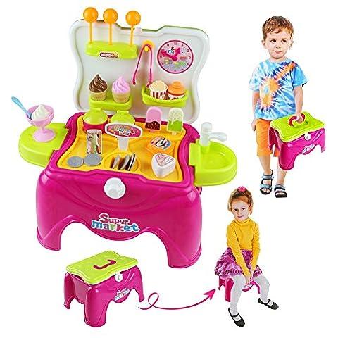 Pretend Play Glace et Dessert de Marchande Jouet dans Tabouret de Transport Jeu d'imitation pour Enfant Garçon Fille 3 Ans et Plus