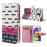 Samsung Galaxy S5 S5 Neo Hülle Klapphülle von NICA, Slim Flip-Case Kunst-Leder Vegan, Phone Etui Schutzhülle Book-Case, Dünne Vorne Hinten Handy-Tasche Wallet Bumper - Pink Bowknot Edition