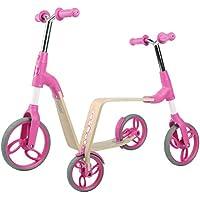 Vokul Gh03 2 en 1 Balance Ride-on Bicicleta sin Pedales Patinetes (Rosado)