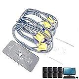 HIGEEK KVM Switch Box USB HD con Cavi VGA+USB Per PC Monitor/Tastiere/Mouse/Linux/Mac 4 Porte Ris. Max 1920x1440 HDMI Compatibile immagine
