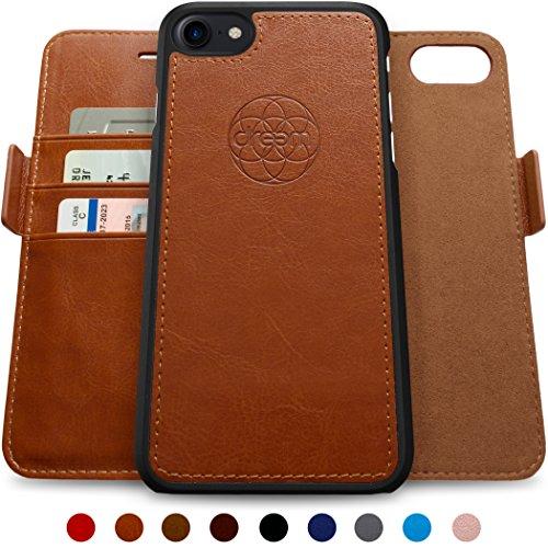 Slim Wallet Case (Dreem Fibonacci iPhone 7 & iPhone 8 Hülle und Brieftasche, herausnehmbare Schutzhülle, 2 Aufstellmöglichkeiten, RFID Schutz, Hochwertiges künstliches Leder, Geschenkverpackung - 5.5 Caramel Brown)