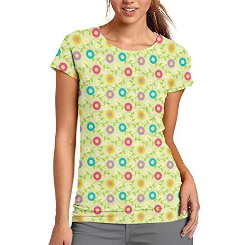 Women's Fashion Cheery Mod Spring Flowers On Celery, Daisies, Retro Botanicals Short Sleeve T Shirt L -