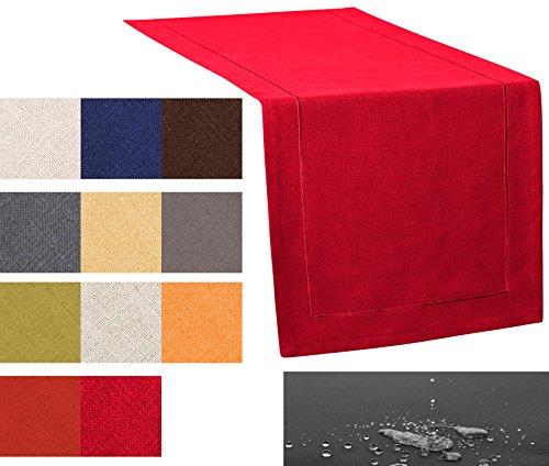 Chemin de table de Place Sets de table Les Protection Anti-Taches Lin point décoratif, bordeaux, ca. 40x130cm