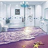 Lifme Benutzerdefinierte Fototapete 3D Strand Ozean Welle Seestern Wohnzimmer Badezimmer Bodenaufkleber Wasserdicht Selbstklebende Tapete Wandbild-200X140Cm