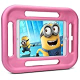 iPad 9.7 (2017), iPad Air 2, iPad Air 1 kids case, COOPER GRABSTER Rugged Heavy Duty Gaming Children's Toy Tough Rubber Bumper Drop Proof Protective Carry Case Cover Handle, Screen Protector (Pink)