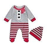 Huihong Weihnachten Neugeborenes Baby Mädchen Jungen Streifen Strampler Overall + Hut 2 Pcs Pyjamas Kleidungs Set (Grau, 12M/90)