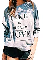 YYear Women's Athletic Print Patterns Long Sleeve Jumper Pullover Sweatshirts Grey US S