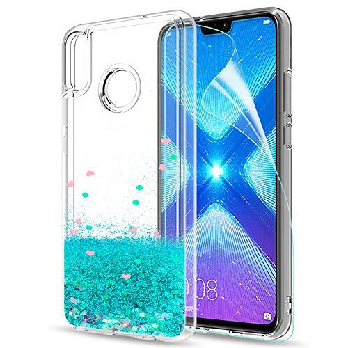 LeYi Hülle Huawei Honor 8X Glitzer Handyhülle mit HD Folie Schutzfolie,Cover TPU Bumper Silikon Flüssigkeit Treibsand Clear Schutzhülle für Case Huawei Honor 8X Handy Hüllen ZX Turquoise