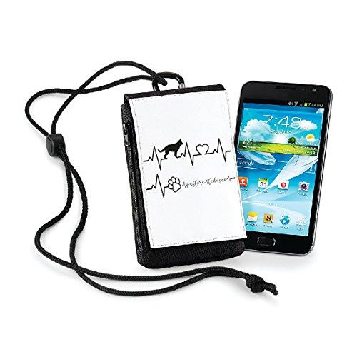 bubbleshirt Porta smartphone Elettrocardiogramma pastore tedesco - love - dog - idea regalo - in poliestere dimensioni 10x16x2 cm