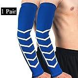 Kompression Arm Sleeves Armlinge Lange Hülsen Unterstützen UV-Schutz Cover Armbinde Hülle Hautschutz?1 Paar ? Blau XL