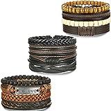 BE STEEL Schmuck 12PCS Geflochtene Leder Armbänder für Herren und Damen Holzperlen Armband Manschette Elastisch