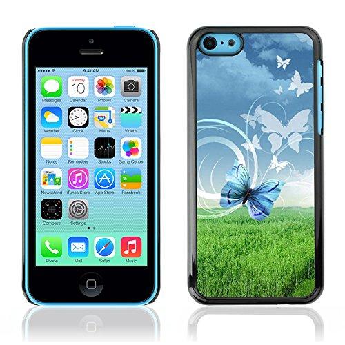 Graphic4You Blue Butterfly And Flowers Design Harte Hülle Case Tasche Schutzhülle für Apple iPhone 5C Design #4
