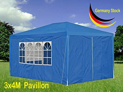 Xinng 3x4M Sofortig Draussen Pavillon PE Wasserdicht Partyzelt Hochzeit Gartenpavillon Pavillonzelt Schutz mit Abnehmbarer Seite Panels Camping Pergola Baldachin (Blau) (Baldachin-panel)
