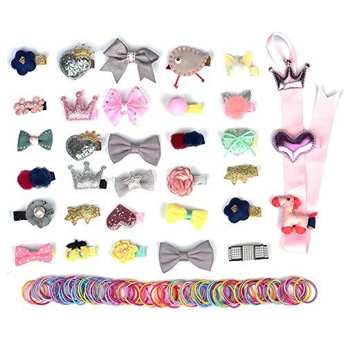 133 Stücke Mädchen Haarschmuck Set, Baby Kleines Mädchen Haarklammern Bogen Haarspangen Haarnadeln mit Bunt Haarringe und ()