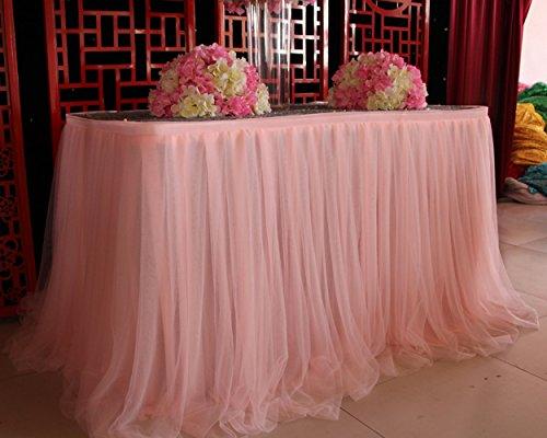 DSstyles Tischröcke, romantische Tischdeko mit Tüll, Tischdekoration, Wonderland Tischdecke, für Baby-Dusche, Hochzeit, Geburtstag, Party, Bar, Prom, Valentinstag Weihnachten - Rosa