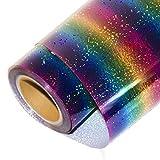 HOHO Vinyl-Bügelbild mit holografischen Streifen, Multi-Wärmeübertragung, HTV-Press-Papier-Blatt für Kleidung / T-Shirts, 50,8x 30,5cm