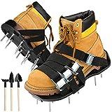 Rasenlüfter Schuhe, Vogek Rasenbelüfter mit 8 verstellbaren Riemen, 26 Spikes und 3 Schaufeln strapazierfähiger Vertikutierer Rasen Nagelschuhe für Rasen oder Hof