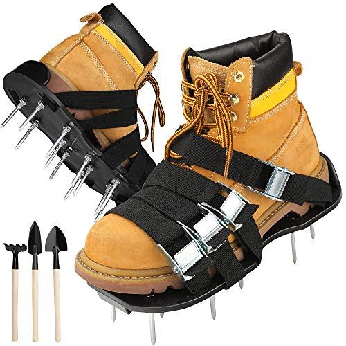 Rasenlüfter Schuhe, Vogek Rasenbelüfter mit 8 verstellbaren Riemen, 26 Spikes und 3 Schaufeln strapazierfähiger Vertikutierer Rasen Nagelschuhe für Rasen oder Hof - Frauen Erde-schuh-sandalen