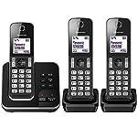 Panasonic KX-TGD323EB Cordless Home Phone with Nuisance Call Blocker and Digital Answering Machine - Pack of 3