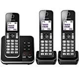 Panasonic KX-TGD323EB Cordless Home Phone with Nuisance Call Blocker and Digital Answering Machine – Pack of 3