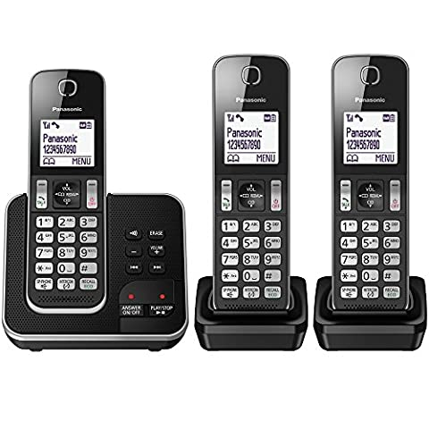 Panasonic KX-TGD323EB Cordless Home Phone with Nuisance Call Blocker and Digital Answering Machine - Pack of 3