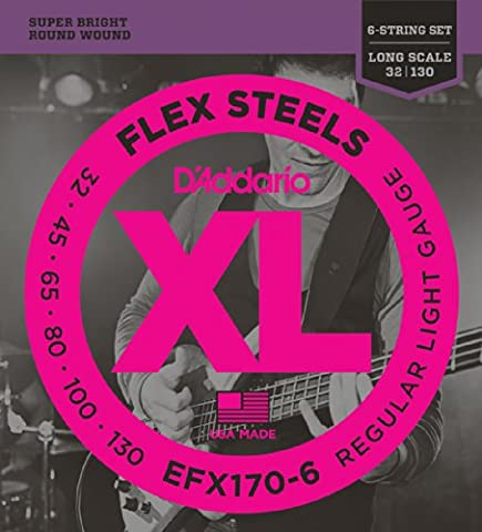 D'Addario EFX170-6 6 String FlexSteels Light 32-130 Long Scale Bass
