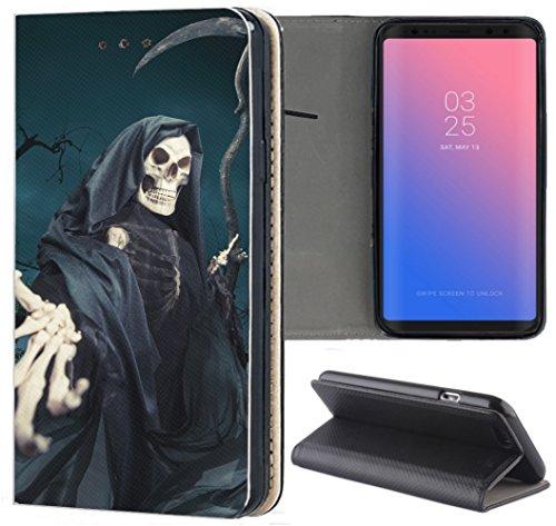 KA3-Mobile Hülle für Samsung Galaxy M20 Handyhülle Motiv 1332 Sensenmann Totenkopf Skull Bones Flipcover Schutzhülle Smart Cover Handy Case Hülle für Samsung Galaxy M20 - Mobile M20