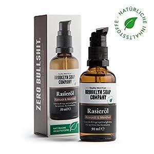 Natürliches Öl für die Rasur: Shaving Oil Rasieröl (50 ml) ✔ Naturkosmetik der BROOKLYN SOAP COMPANY Geschenkidee als Geschenk für Männer – Rasieröl für Konturen und vollständige Rasur