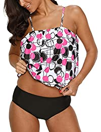 Blivener Women Blouson Tankini Sets Strap Detachable Top High Waist Shorts 2 Pieces Swimwear