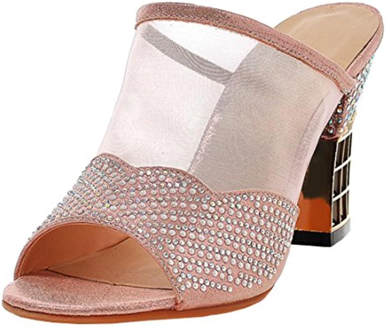 AIYOUMEI Damen Chunky Heels Pantoletten mit Strass Sandalen mit Blockabsatz Mules