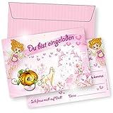 10 Rosa Einladungskarten Zum Kindergeburtstag ROSANELL /  Geburtstagseinladungen Einladungen Geburtstag Kinder Mädchen Einladungstext  Karten Set