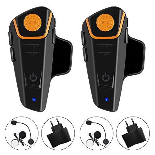 Qaurora BT-S2 1000 M Bluetooth Headset Impermeable, Casco Intercomunicador Interphone Móvil para 2 o 3 Jinetes y 2,5 mm de Audio para Walkie Talkie GPS (2 Pieza)
